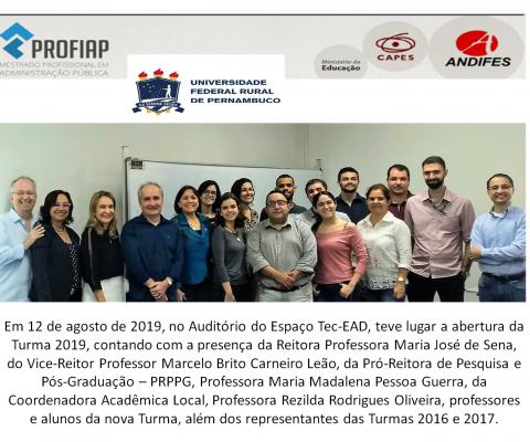 AULA INAUGURAL DA TURMA 2019 - PROFIAP/UFRPE