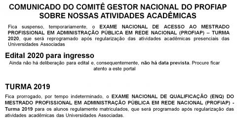 COMUNICADO DO COMITÊ GESTOR NACIONAL DO PROFIAP SOBRE NOSSAS ATIVIDADES ACADÊMICAS NA QUARENTENA
