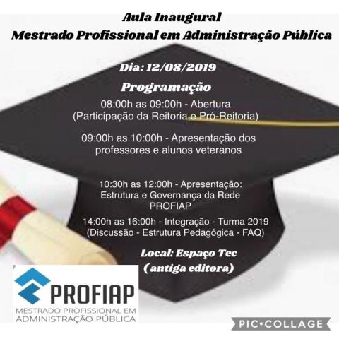RECEPÇÃO DOS NOVOS ALUNOS  TURMA 2019 - PROFIAP/UFRPE